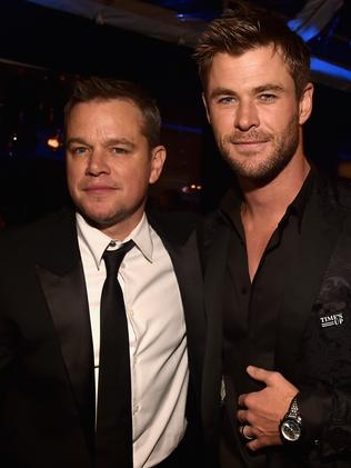 Matt Damon with new BFF Chris Hemsworth. Picture: Alberto E. Rodriguez/Getty Images