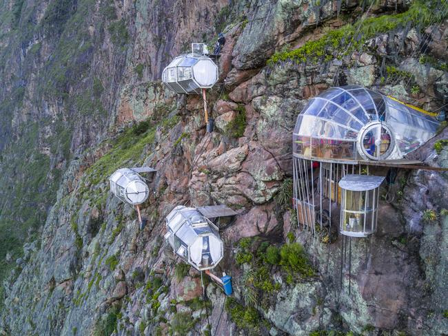 SLEEP IN A POD OVERLOOKING SACRED VALLEY There are few places in the world where you can stay in a glass pod on the side of a cliff 400m. It's no wonder that Skylodge Adventure Suites has become a destination attraction for travellers to Cusco, Peru. Fall asleep to views of Sacred Valley and wake with breakfast in a dining pod.