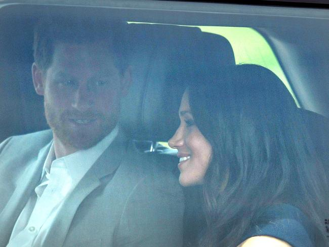 Prince Harry and Meghan left Kensington Palace and arrived at Windsor the day before their wedding. Picture: Mega.
