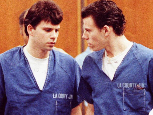 Lyle (left) and Erik Menendez leave the courtroom in Santa Monica after one of their trials which resulted in life convictions for the brothers.