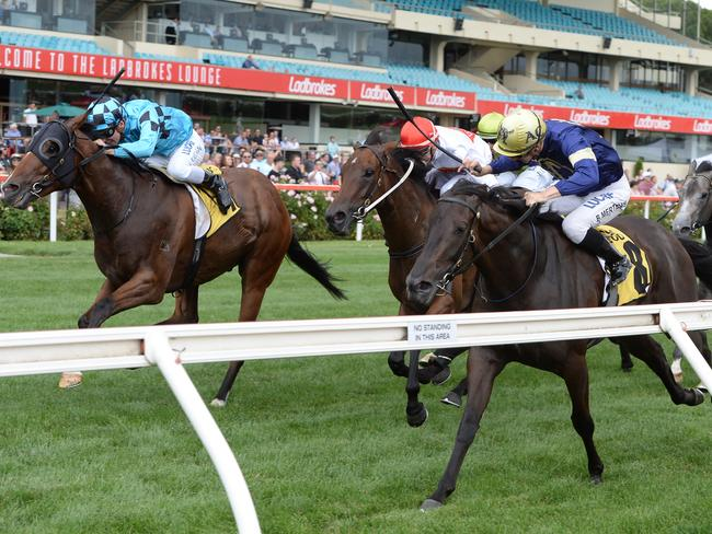 Aeecee Tong De (rails) is run down by the fast-finishing Bel Sonic at Moonee Valley last month. Picture: AAP