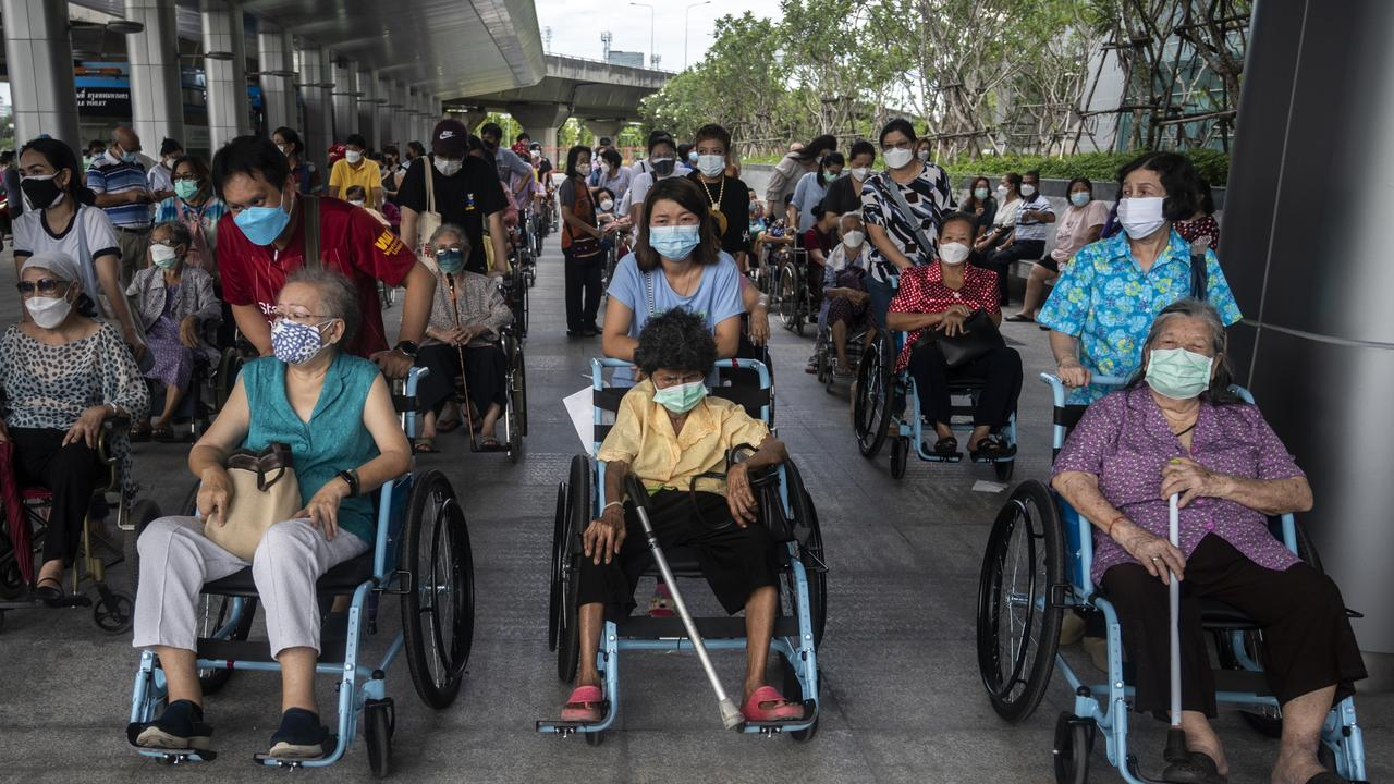 Thai people waiting in line for the AstraZeneca vaccine after health authorities and the government announced they will be giving the jab as a secondary to China-manufacture Sinovac. Picture: Sirachai Arunrugstichai/Getty Images