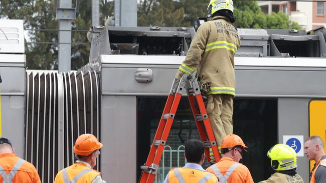 Part of the roof of a Sydney train has detached from train at Burwood station. Picture: Craig Wilson