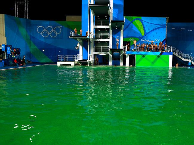 The diving pool at Maria Lenk Aquatics Centre on Day 4 of the Rio 2016 Olympic Games.