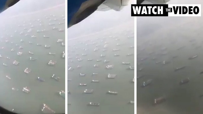 Aerial footage of the 369 vessels waiting to pass through the Suez Canal