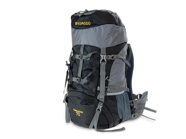 70 LITRE CONQUEROR BACKPACK, $49 FROM KOMODO This great all-rounder might come in at under $50 but it doesn't sacrifice one ounce of functionality for its low price. Padded straps, waist stabilisers and back support, a rain cover and one-year warranty are all part of the deal.