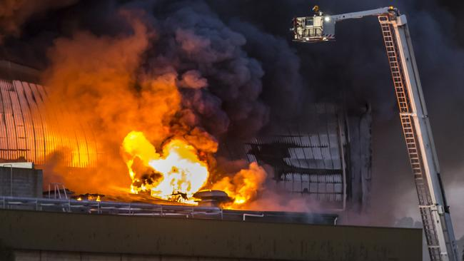 Firefighters tackle the fire at Thomas Foods, Murray Bridge. Picture: Jesse Barnes from JGJ Photography Australia