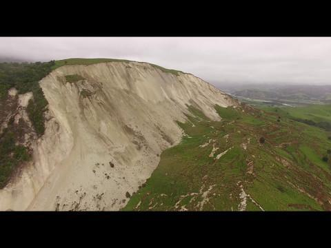 New drone footage has revealed the extent of a massive landslip triggered by the November 2016 Kaikoura earthquake in New Zealand. The video, released by GNS Science on May 12, provides a unique view of the former hill now known as Seafront Slip. According to GNS Science, 17 to 20 million cubic metres of the hillside were displaced, exposing one kilometre of the slip face in Kaikoura. Two people were killed in the November 14 quake, and roads to Kaikoura were impassible due to the damage. Credit: GNS Science via Storyful