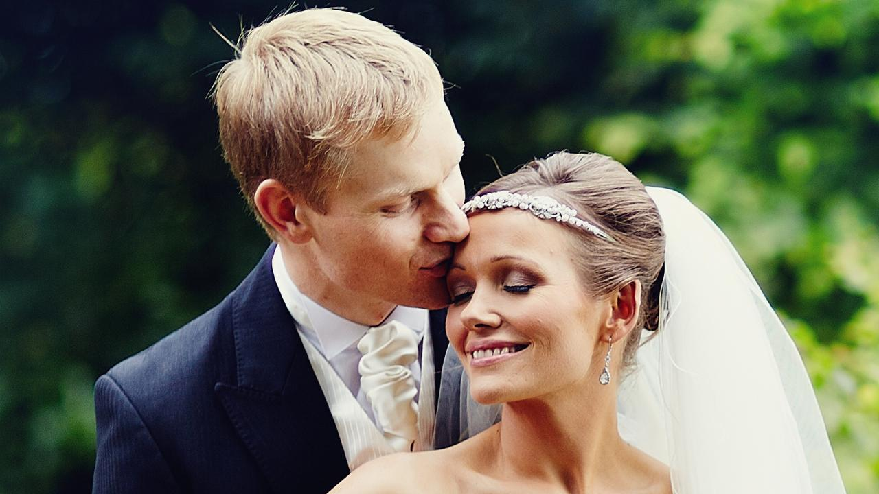 Brian and Jessica Maris on their wedding day. She is left to raise their two children alone after his death from sudden cardiac arrest. Pic: Supplied.