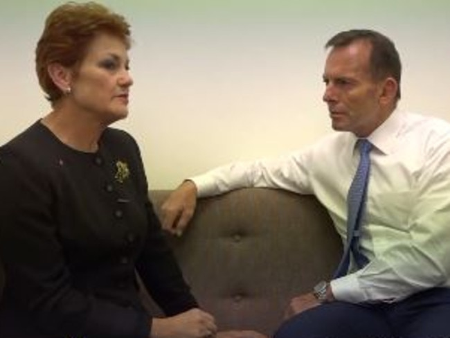 Pauline Hanson and Tony Abbott in the strained video.