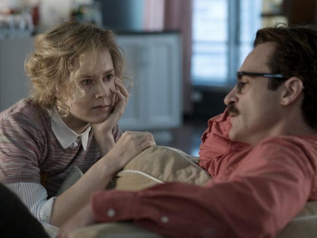 Amy Adams and Joaquin Phoenix in the romantic drama film Her, directed by Spike Jonze.