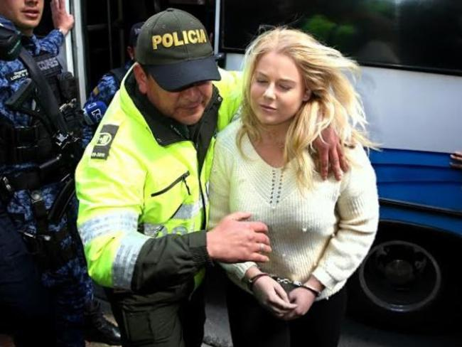 Cassie Sainsbury arrives at a court hearing in Bogota, Columbia. Picture: Nathan Edwards