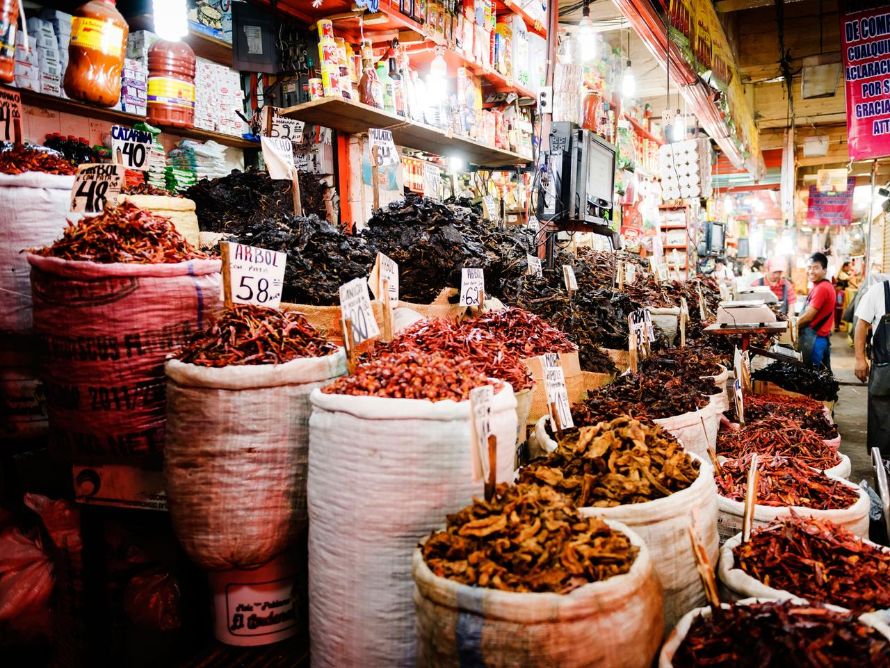A stall specialising in dried chillies at the Mercado de la Merced, Mexico City.