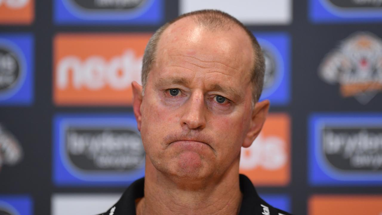 BRISBANE, AUSTRALIA - SEPTEMBER 05: West Tigers coach Michael Maguire speaks to the media after his team's defeat during the round 25 NRL match between the Wests Tigers and the Canterbury Bulldogs at Moreton Daily Stadium, on September 05, 2021, in Brisbane, Australia. (Photo by Albert Perez/Getty Images)
