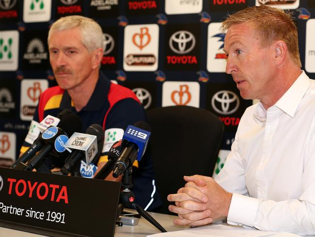Dr Andrew Potter, left, and David Noble at press conference to discuss the condition of Reilly. Photo: Sarah Reed