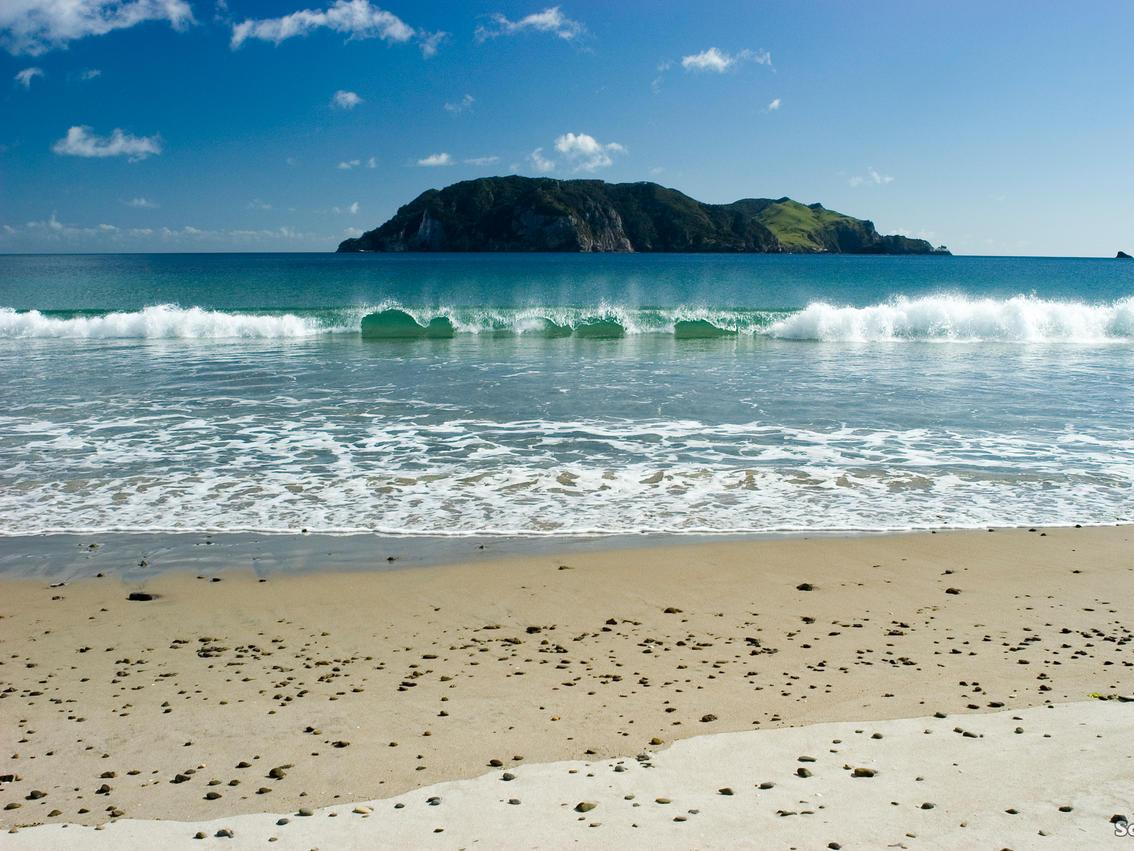 Great Barrier Island, seen from a Harataonga beach. Picture: Scott Venning / Tourism New