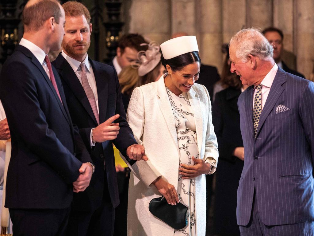 Britain's Meghan, Duchess of Sussex (2R) talks with Britain's Prince Charles, Prince of Wales (R) as Britain's Prince William, Duke of Cambridge, (L) talks with Britain's Prince Harry, Duke of Sussex in 2019.