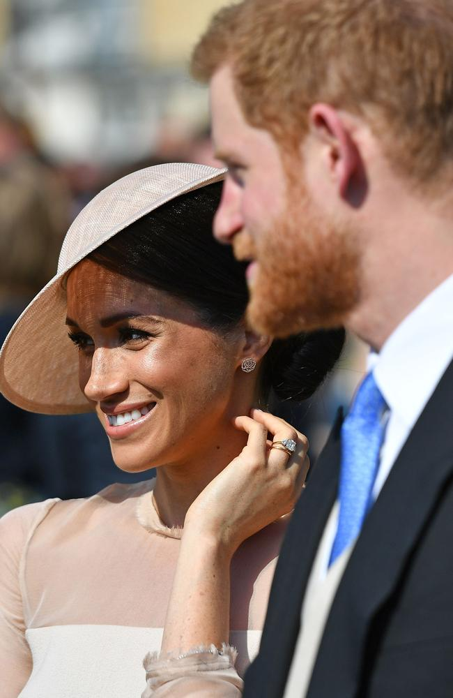 Meghan and Prince Harry at Prince Charles' birthday celebrations — their first official royal event as husband and wife. Picture: Georges Rogers/SIPA/MEGA