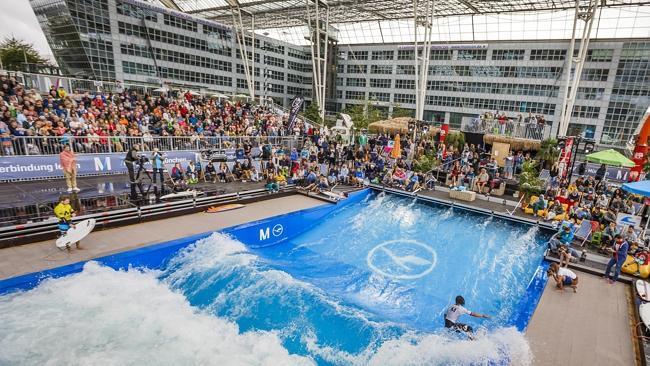 The world's biggest stationary wave installation is back at Munich Airport from September 16 to October 9. Picture: Flo Hagena