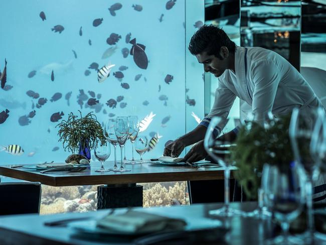 Once you've selected a delicious drop, choose from an innovative dining menu, the highlights of which include freshly caught Maldivian lobster, braised scallops and pan-seared Miyazaki wagyu. Awarded the World's Best Underwater Restaurant for four consecutive years by the World Travel Awards, it's simple to see why SEA is so swell.