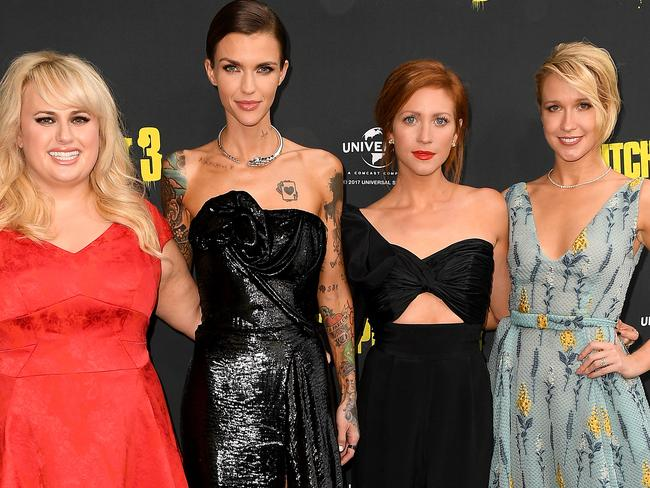 Rebel Wilson, Ruby Rose, Brittany Snow and Anna Camp at the Australian premiere of<i> Pitch Perfect 3</i>. Picture: AAP