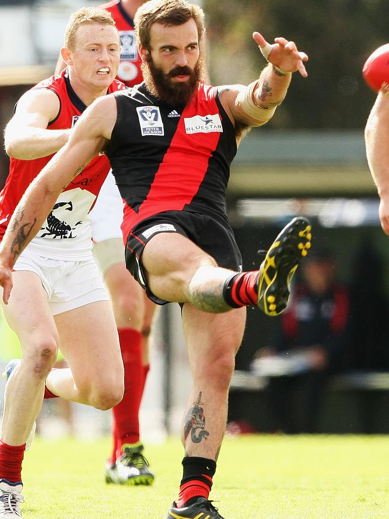 Essendon rookie Hal Hunter in 2013 — two years later he would be suing the league over the supplements saga. Picture: Hamish Blair