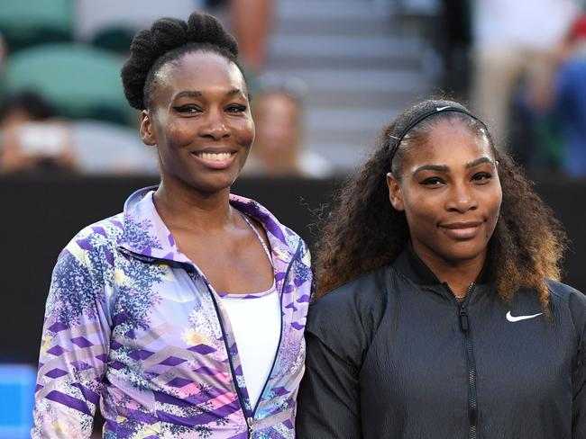 Serena Williams of the US and Venus Williams of the US before the women's singles final on day 13 of the Australian Open tennis tournament in Melbourne. Picture: AFP