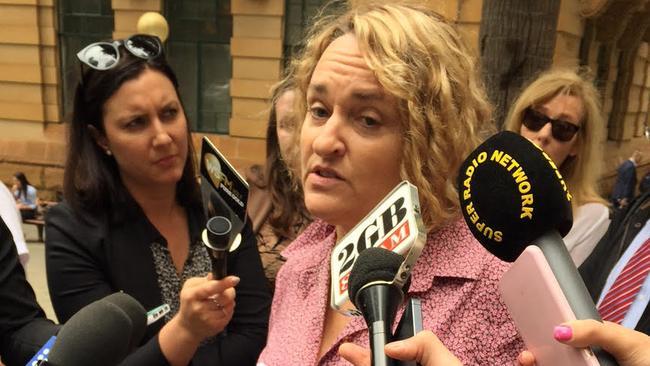 Explosive allegations ... Fiona Barnett speaks to the media in Sydney. Pic: Liz Burke.