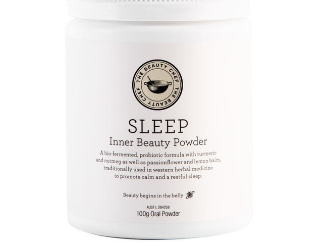 SLEEP INNER BEAUTY POWDER, $55 FROM THE BEAUTY CHEF This bio-fermented herbal blend isn't just good for rest and relaxation while you're in transit, it's also good for dealing with the taxing symptoms of jet lag. Mix it with water – or plant-based milk – an hour before you go to sleep. It also contains a broad-spectrum probiotic, so your tummy will thank you too.
