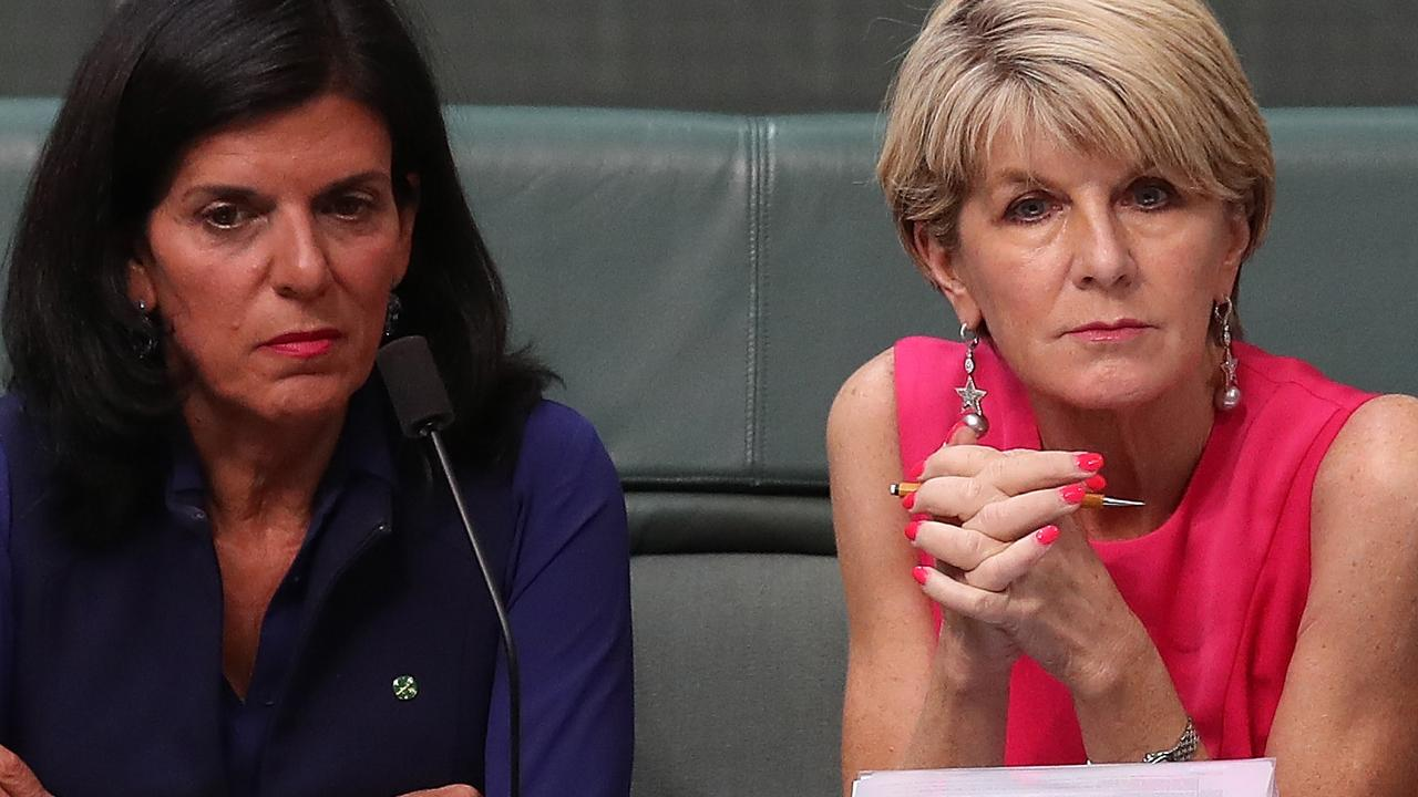 Julie Bishop and Julia Banks sat together in parliament until Ms Banks defected to the crossbench. Picture: Kym Smith