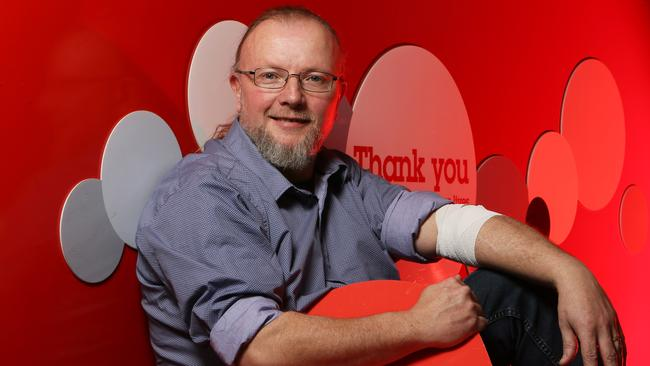 Jason Turner gives blood regularly at the Australian Red Cross Blood Service in Noarlunga Centre. The centre is doing a blood drive to attract 100 new donors. (AAP/Emma Brasier)