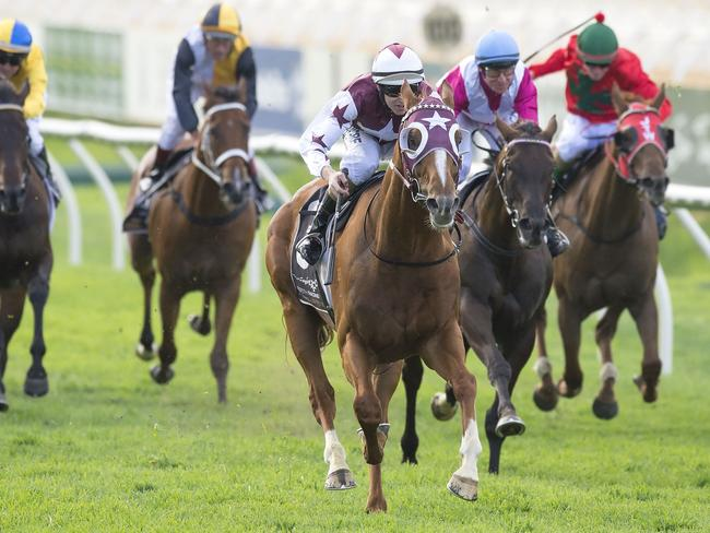 Stratum Star (centre) closes on Scales Of Justice (not pictured) to win the feature Perth race. Picture: Simon Merritt Western Racing Pix