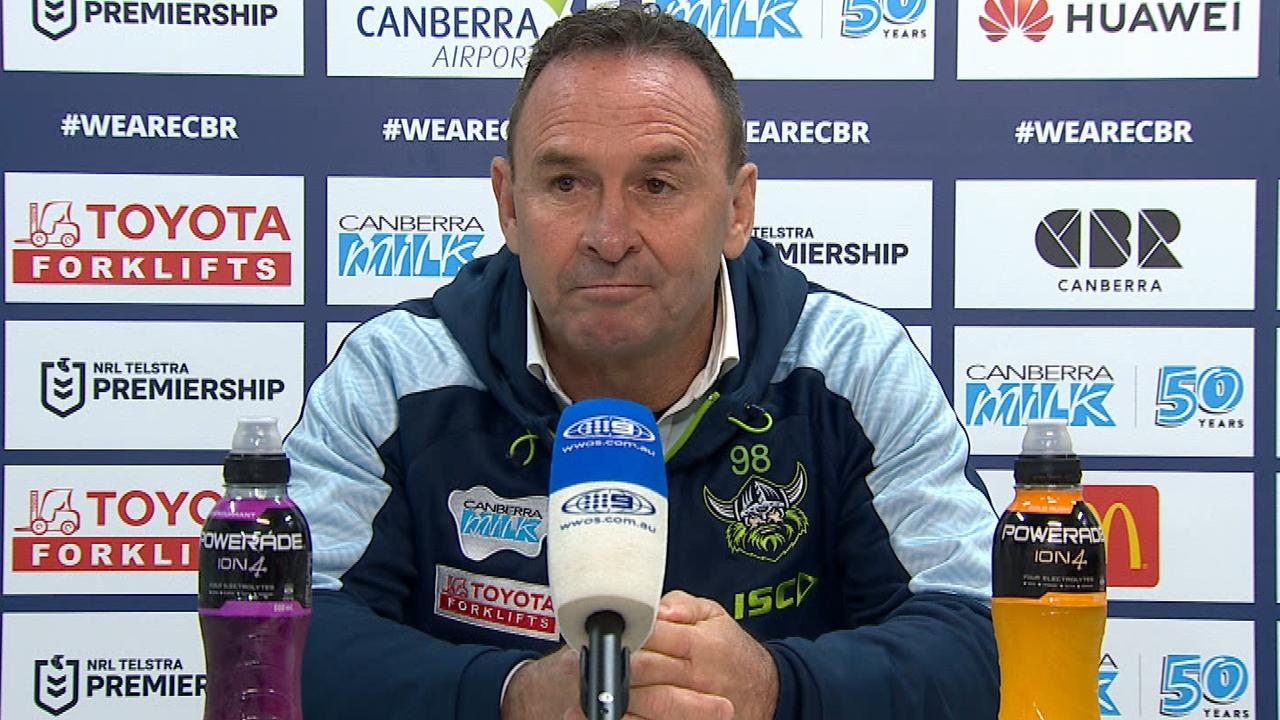Raiders coach Ricky Stuart was not happy about some calls in his side's loss.