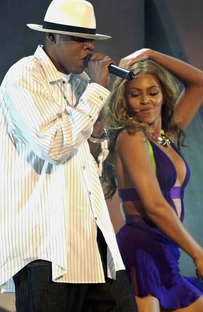 Beyonce and Jay Z perform at the 2003 BET Awards.