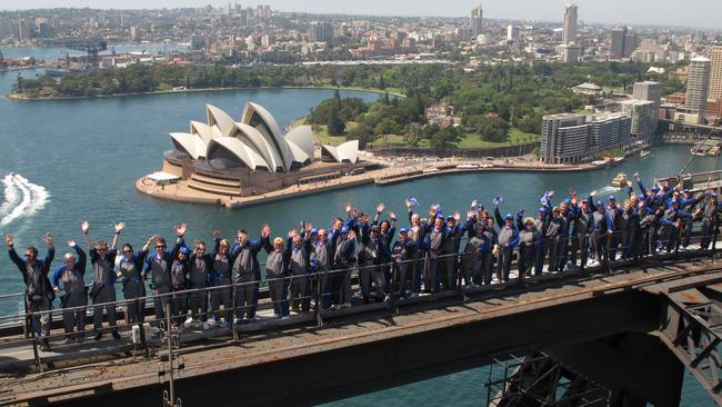 The Northern Territory's chief minister Adam Giles said this month tourists should be allowed to climb Uluru just as they climbed the Sydney Harbour Bridge. Picture: Bridgeclimb