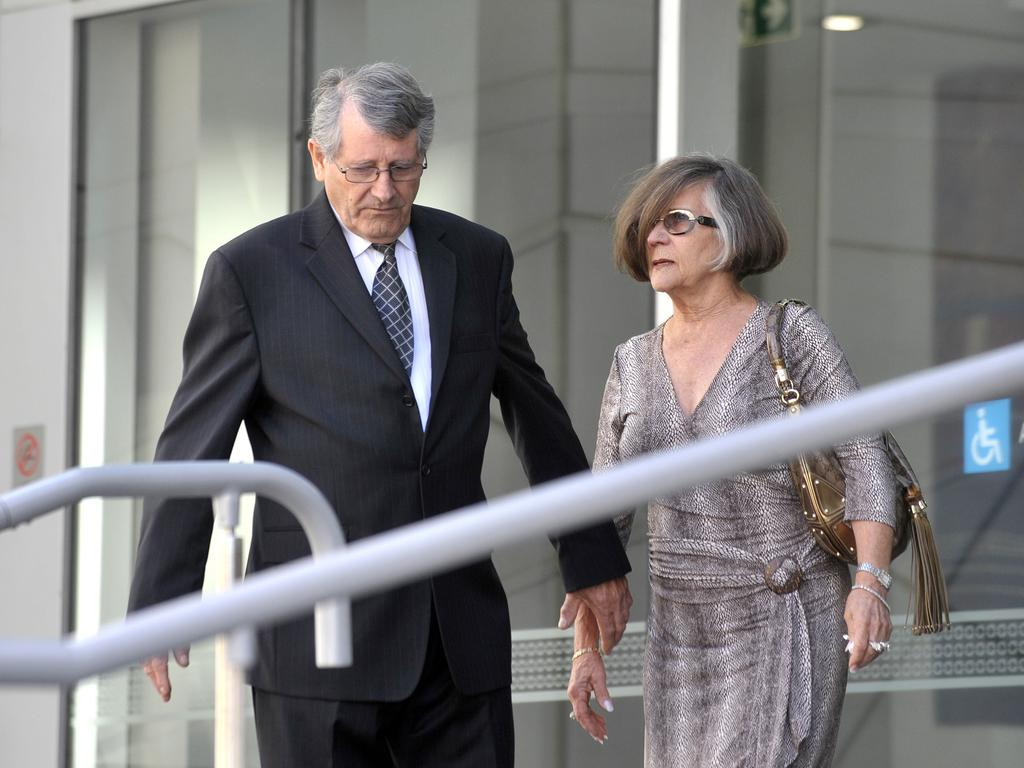 Yvonne Mercanti (with husband, Michael) testified at her son's trial that he had punched out her daughter-in-law's tooth at a Christmas gathering. Picture: Theo Fakos.