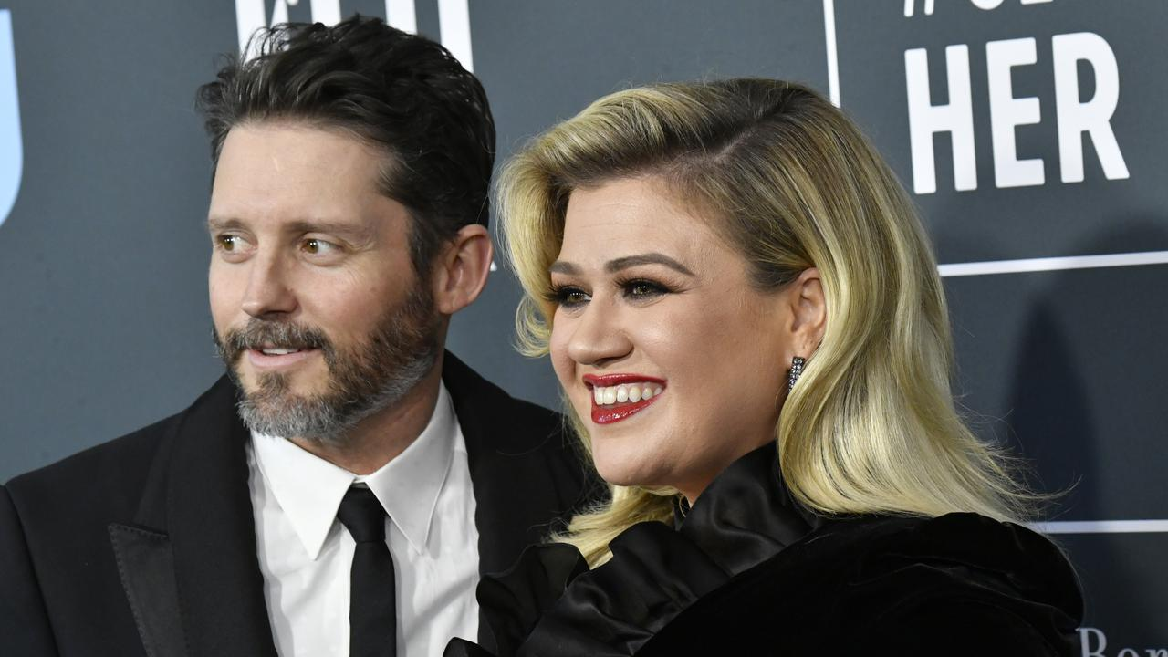Happier times: Kelly Clarkson and Brandon Blackstock on a January red carpet. Picture: Frazer Harrison/Getty