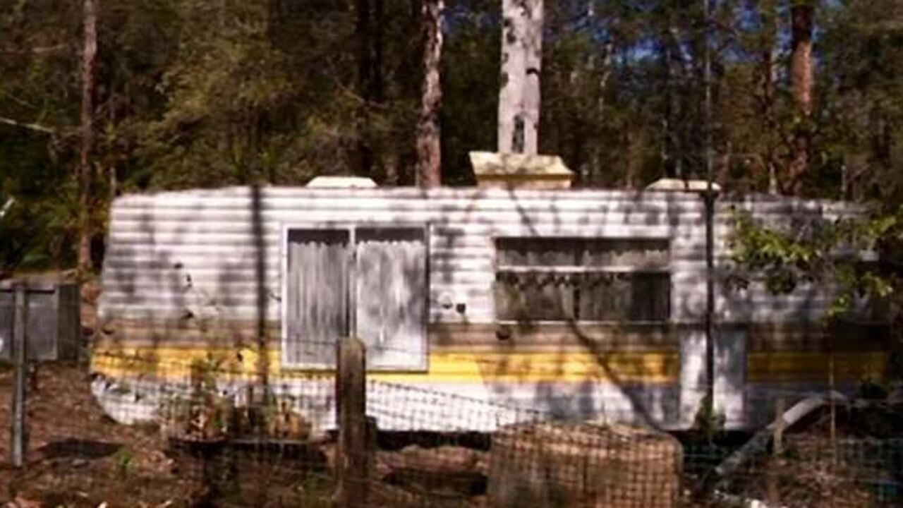 The caravan Abbott lived in near a sawmill at Logan's Crossing, 8km from Kendall. Picture: Channel 10