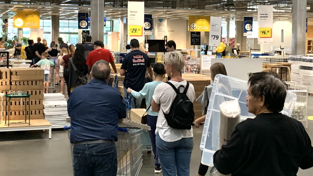Checkout lines were long at this Sydney Ikea. Picture: Benedict Brook/news.com.au
