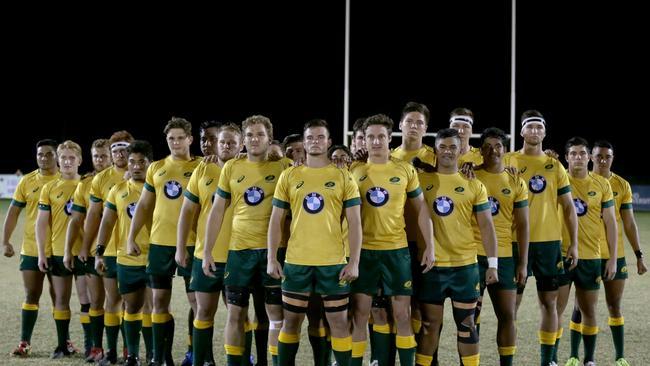 Australia face the New Zealand haka. Photo: Oceania Rugby/Sportography.