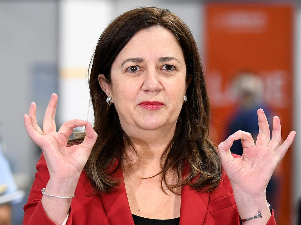 BRISBANE, AUSTRALIA - NewsWire Photos - SEPTEMBER 7, 2021.  Queensland Premier Annastacia Palaszczuk speaks during a press conference at the newly opened Covid-19 community vaccination hub at the Brisbane Entertainment Centre in Boondall.  Picture: NCA NewsWire / Dan Peled