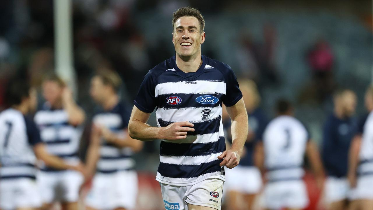 All smiles for Geelong as Jeremy Cameron prepares to play his first AFL game for the Cats. Photo: Michael Klein