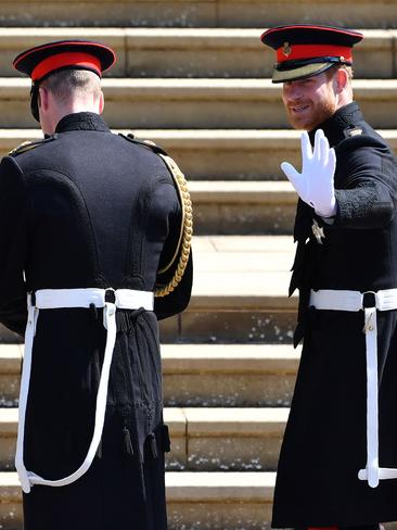 The brothers looked relaxed as they arrived. Picture: AP