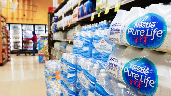 Top brands like Nestle Pure Life, Aquafina, Dasani and Evian were among those tested in the study. Picture: Frederick J. Brown/AFP
