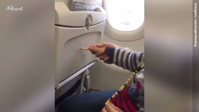 A child's shocking act on a plane has gone viral