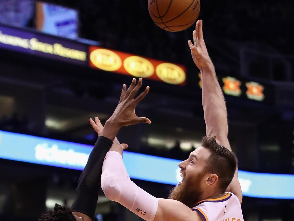 Boomers big man Aron Baynes will look to take his career to another level when he joins the 2019 NBA champions the Toronto Raptors. Picture: Christian Petersen/Getty Images.