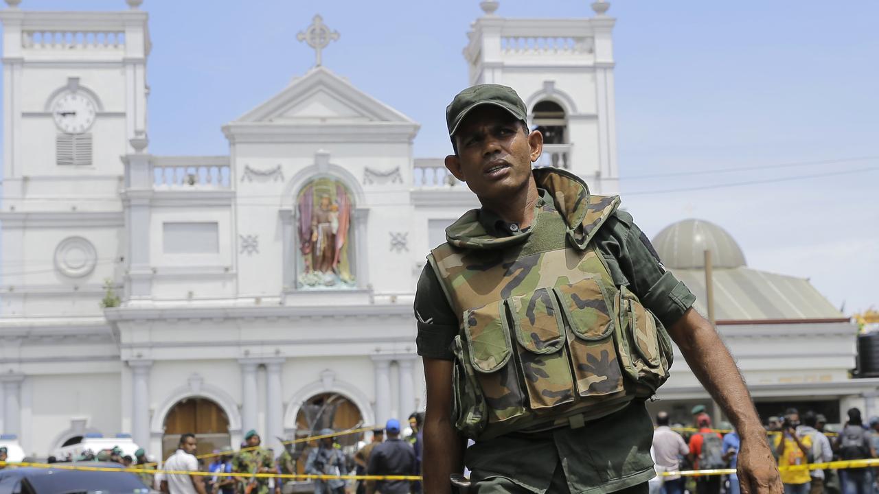 Sri Lankan Army soldiers secure the area around St. Anthony's Shrine after a blast in Colombo, Sri Lanka, Sunday, April 21, 2019. Picture: AP/Eranga Jayawardena.