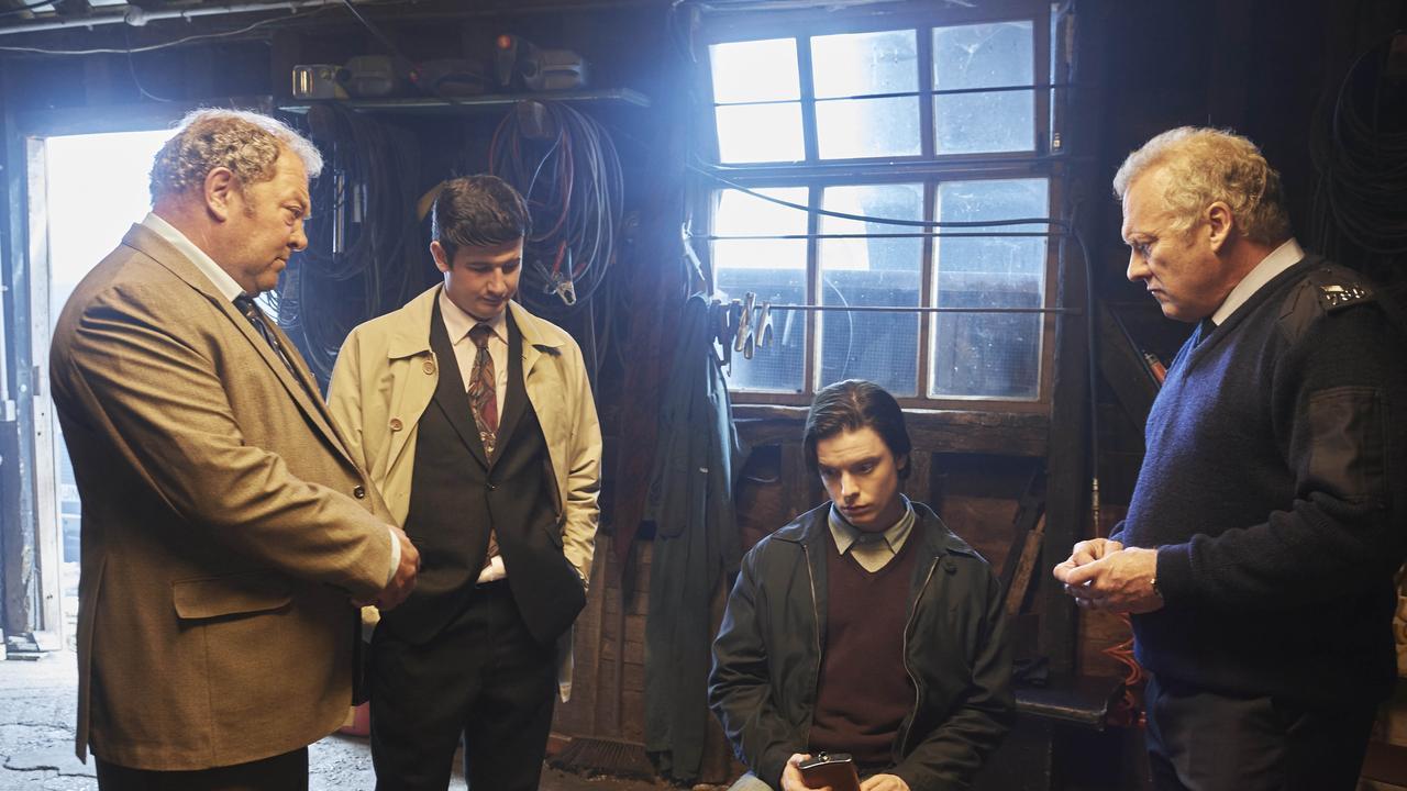 Mark Addy as Stan, Scott Reid as DC Mick Clark, Freddie Fox as Jeremy Bamber and David Hunt as Bews in true crime drama White House Farm.