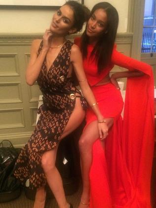Monaghan with fellow Aussie model Nicole Trunfio. Picture: Instagram