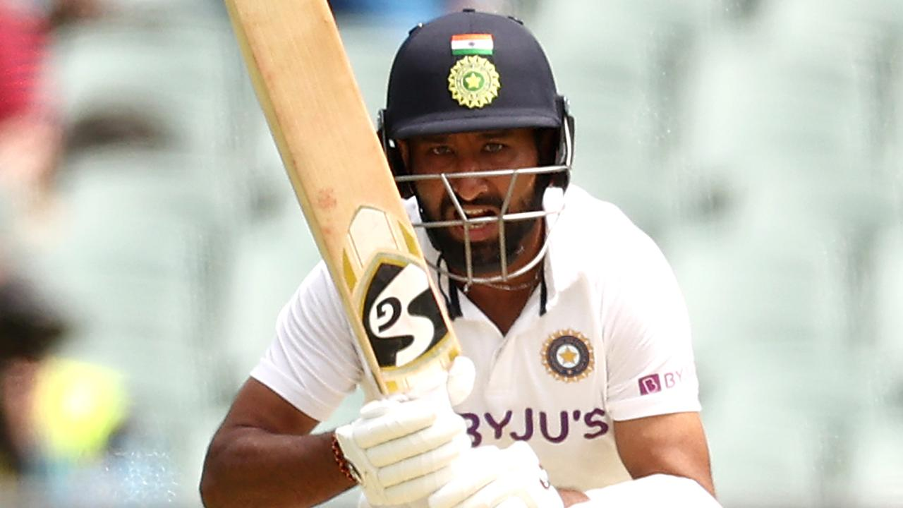 Cheteshwar Pujara of India played a typically slow innings,